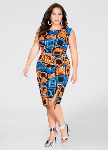 Front Slit Geo Print Dress