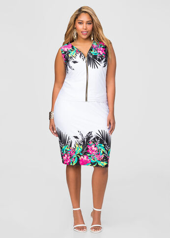 Tropical Border Pencil Skirt
