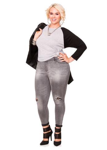 Grey Slit Knee Skinny Jean