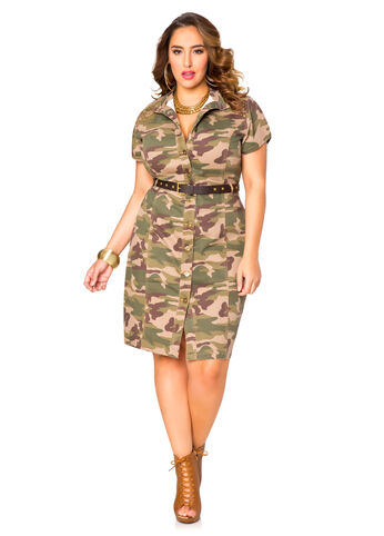 Studded Camo Shirt Dress