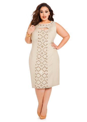 Studded Keyhole Linen Dress