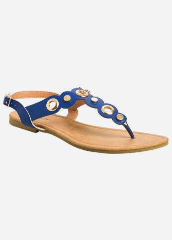 Circle Detail T-Strap Sandal - Wide Width