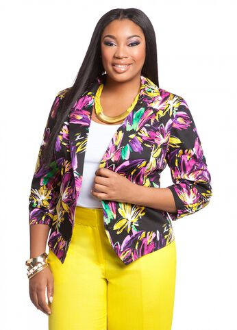 Tropical Print Sateen Rouched Jacket