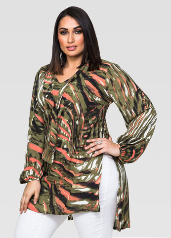 Printed Tie Neck Hi-Lo Tunic