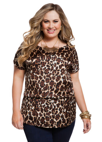 Animal Print Dolman Sleeve Top