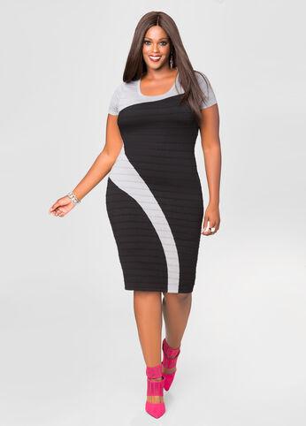 Swirl Colorblock Bodycon Dress