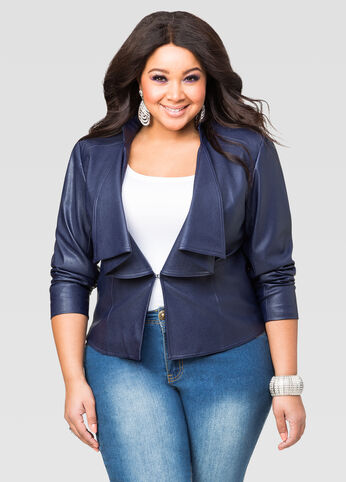 Faux Leather Cascade Front Jacket