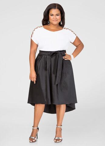 Belted Hi-Lo Taffeta Skirt