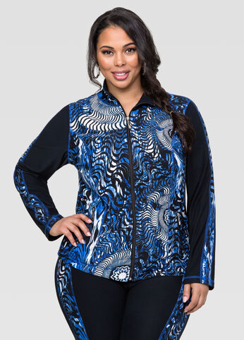 Blue Abstract Active Jacket
