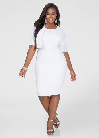 Plus Size Two-Piece Textured Jacket Dress in Ivory - Front