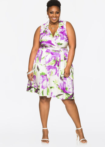 Sateen Abstract Floral Wrap Dress