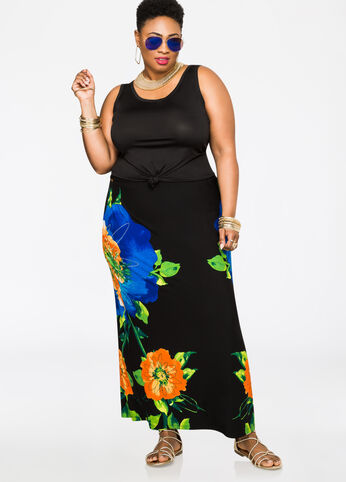Floral Print Maxi Skirt Multi - Bottoms