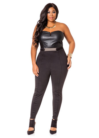 Pleather and Ponte Tube Top Jumpsuit