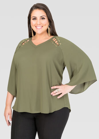 Grommet Angel Sleeve Blouse