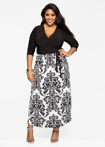 Brocade Print Maxi Dress