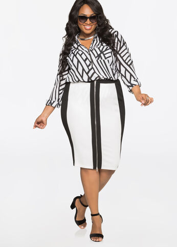 Zip Front Colorblock Midi Skirt