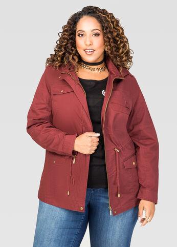 Hooded Twill Anorak Jacket