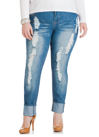Destructed Cuffed Jeans