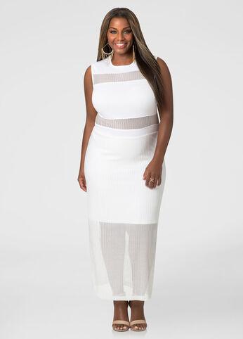 Sheer Panel Maxi Dress