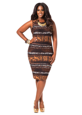 Tribal Pattern Midi Dress