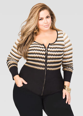 Chevron Basic Zip Cardigan