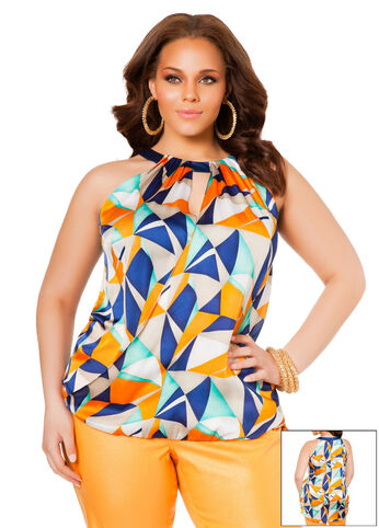 Sleeveless Geometric Print Hi-Lo