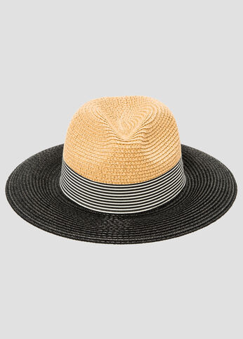 Colorblock Stripe Straw Fedora Cap