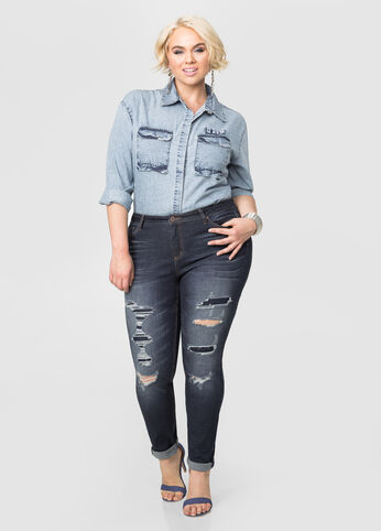 Crease Wash Ripped Skinny Jean