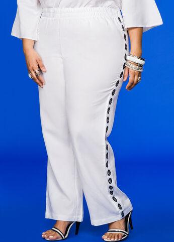 Tribal Side Wide Leg Linen Pant White - Bottoms