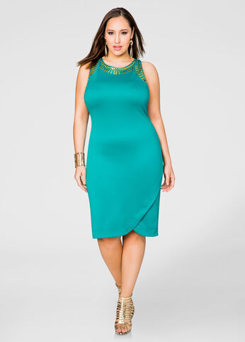 Embellished Tulip Hem Scuba Sheath Dress