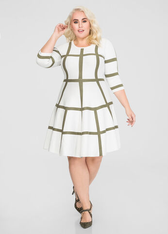 Windowpane Jacquard Sweater Dress