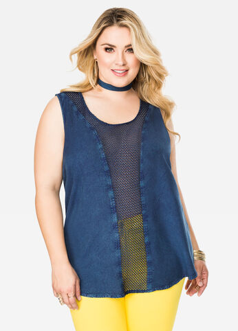 Chambray Tank with Crocheted Detail