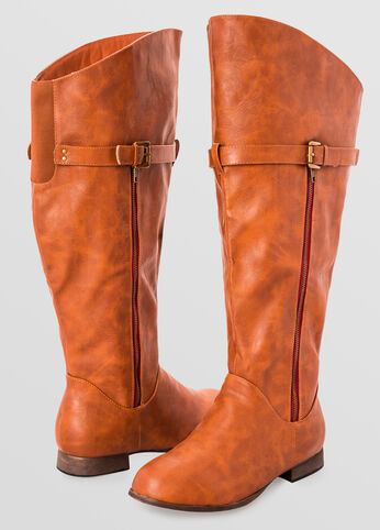 Side Zip Flat Tall Boot - Wide Width Wide Calf