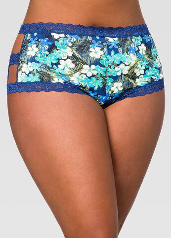 Printed Lace Trim Boyleg Panty