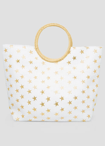 Large Star Straw Tote