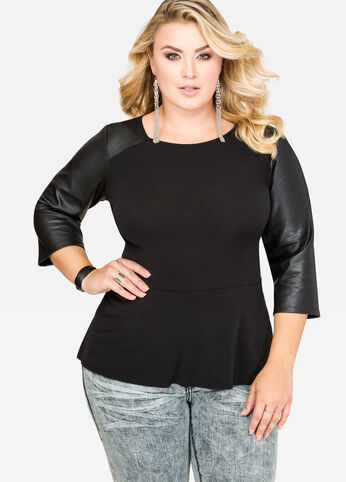 Faux Leather Sleeve Peplum Top