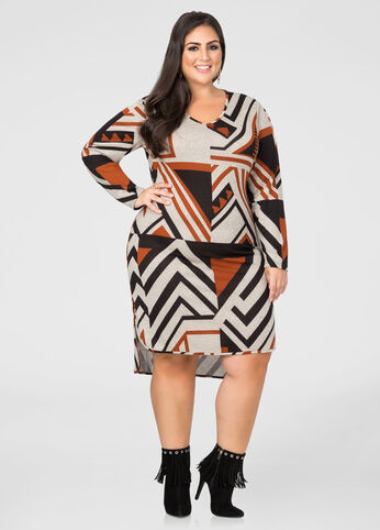 Geo Hi-Lo Sweater Dress