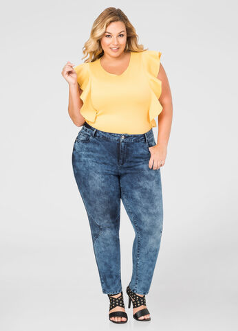 Premium Wash Trapunto Skinny Jean