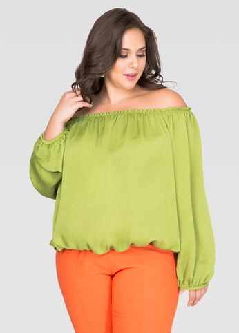 Satin Off-Shoulder Peasant Top