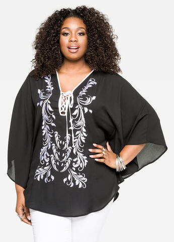 Embroidered Poncho Top 402009750533