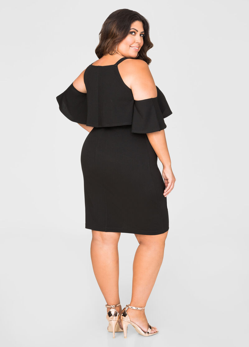 Flounce Cold Shoulder Dress-Plus Size Lingerie-Ashley ...