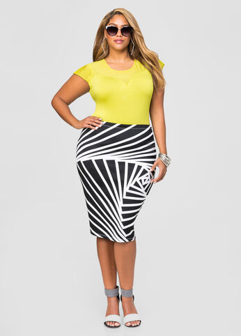 Black White Abstract Pencil Skirt