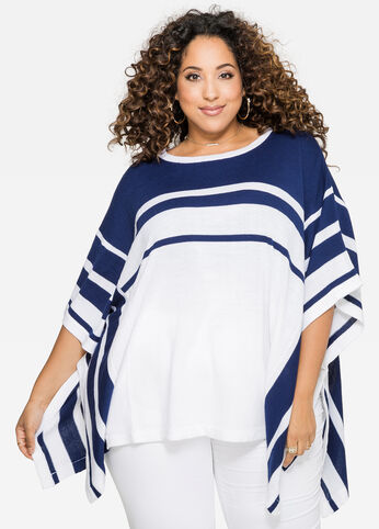 Striped Poncho Top 402009699849