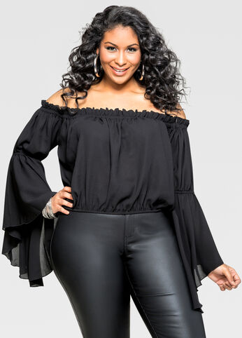 Drama Sleeve Off Shoulder Crop Top