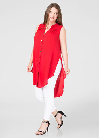 Button Front Hi-Lo Tunic