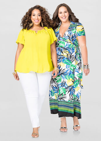Shop bestie look with plus size maxi dress and pants