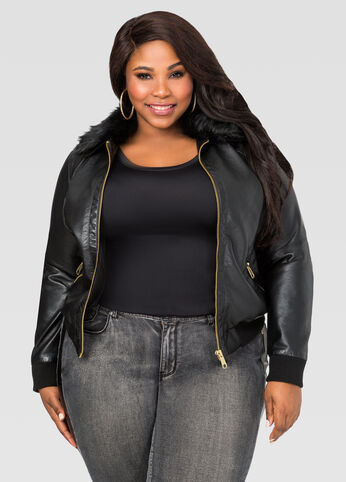 Fur Collar Faux Leather Bomber Jacket