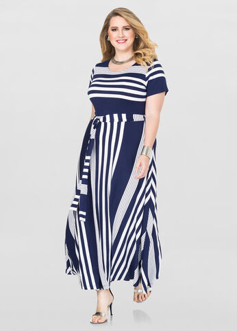 Plus Size Striped T-Shirt Maxi Dress in Blue - Front