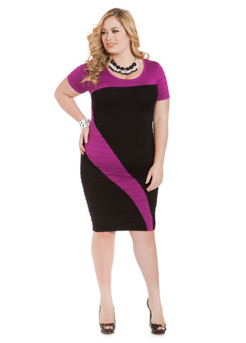 Color Block Bodycon Sweater Dress