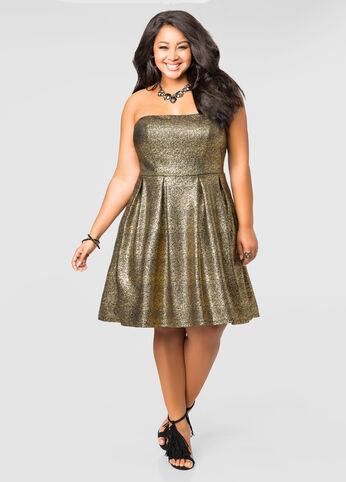Strapless Metallic Bustier Skater Dress